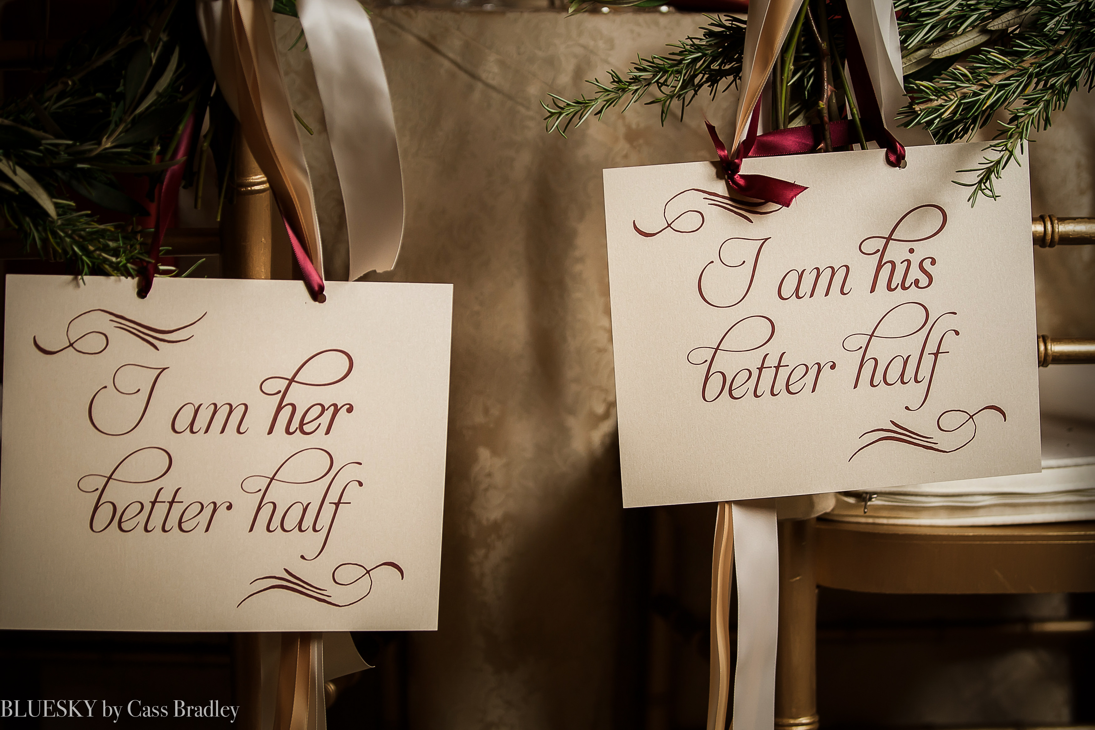 wedding his and her chair signs